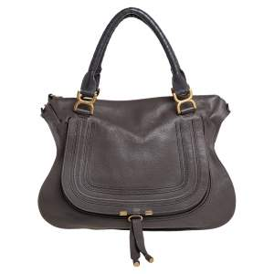 Chloé Metallic Dark Beige Leather Large Marcie Satchel