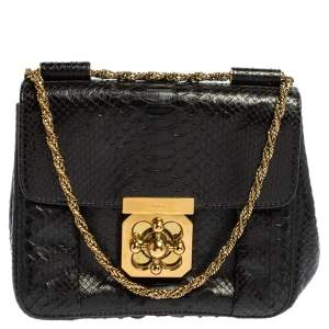 Chloe Black Python Elsie Chain Crossbody Bag