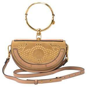 Chloe Beige Calfskin Leather Studded Nile Bracelet Minaudiere Bag