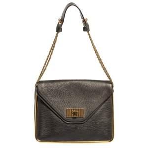 Chloe Dark Grey Leather Medium Sally Flap Shoulder Bag