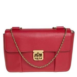 Chloe Red Leather Large Elsie Shoulder Bag