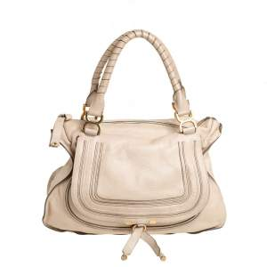 Chloé Light Beige Leather Large Marcie Satchel