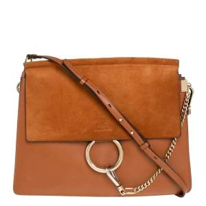 Chloé Brown Leather and Suede Medium Faye Shoulder Bag