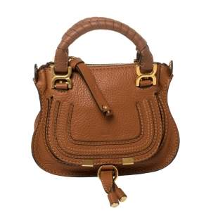 Chloe Tan Leather Mini Marcie Crossbody Bag