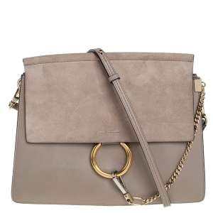 Chloe Beige Leather and Suede Medium Faye Shoulder Bag