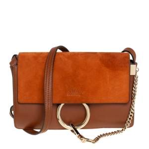 Chloe Brown/Orange Leather and Suede Small Faye Shoulder Bag