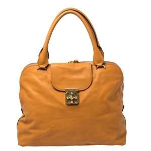 Chloe Orange Leather Large Elsie Bowling Bag