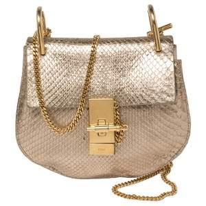 حقيبة كتف كلوي درو صغيرة جلد ثعبان ذهبي ميتاليك