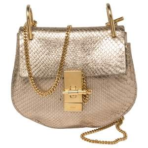 Chloe Metallic Gold Python Mini Drew Shoulder Bag