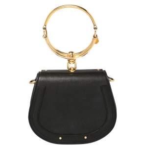 Chloe Black Leather and Suede Small Nile Bracelet Shoulder Bag
