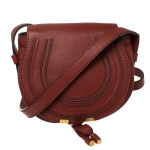 Chloe Red Leather Mini Marcie Crossbody Bag