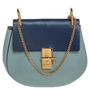 حقيبة كتف كلوي درو جلد أزرق/ أخضر متوسطة