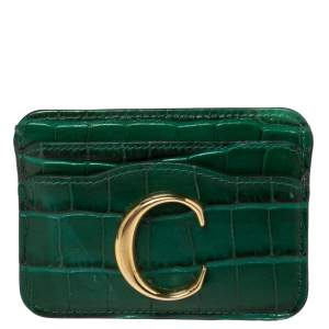 Chloe Green Croc Embossed Leather 'C' Card Holder
