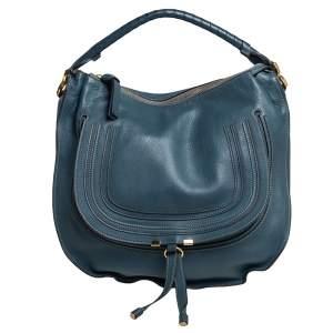 حقيبة كلوي مارسي كبيرة جلد أزرق ستيل