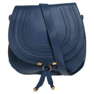 حقيبة كروس كلوي مارسي متوسطة جلد أزرق