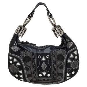 Chloe Black Leather Embellished Crescent Hobo