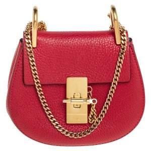 Chloe Red Grained Leather Nano Drew Shoulder Bag