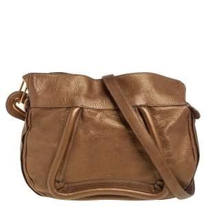 Chloe Gold Leather Paraty Shoulder Bag