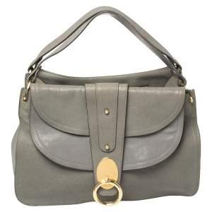 Chloe Grey Leather Flap Kathleen Satchel