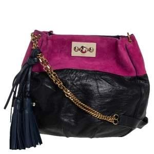 Chloe Black/Magenta Leather and Suede Tassel Chain Hobo