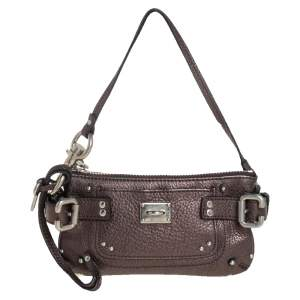Chloe Metallic Grey Leather Paddington Clutch