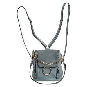 Chloe Blue Leather and Suede Mini Faye Backpack