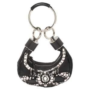 Chloe Black Leather Mini Crystal Embellished Crescent Hobo