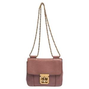 حقيبة كتف كلوي إيلسي صغيرة جلد وردي