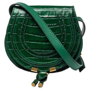 حقيبة كروس كلوي مارسي ميني جلد نقشة التمساح خضراء
