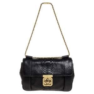حقيبة كتف كلوي إلسي متوسطة جلد ثعبان أسود