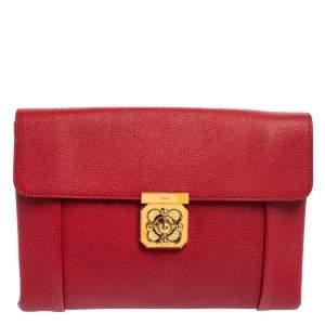 حقيبة كلتش كلوي إلسي جلد حمراء