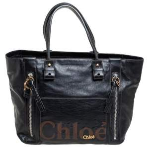 حقيبة يد توتس كلوي ايكليبس جلد أسود مزخرف شعار الماركة