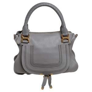 Chloe Grey Leather Marcie Shoulder Bag