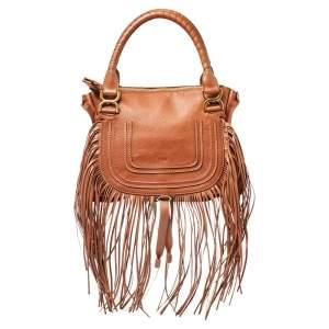 Chloe Brown Leather Medium Fringe Marcie Satchel