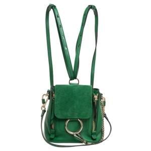حقيبة ظهر كلوي ميني فاي داي سويدي وجلد أخضر