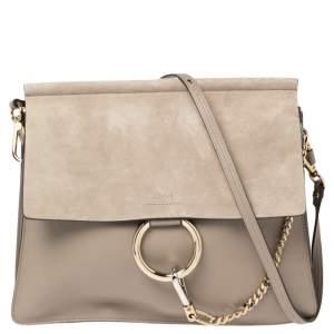 Chloe Grey Leather and Suede Medium Faye Shoulder Bag