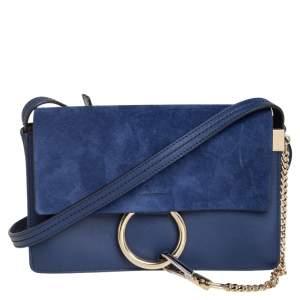 حقيبة كتف كلوي فاي صغيرة سويدي و جلد أزرق