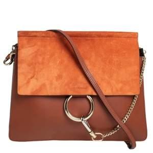 Chloe Cinnamon Brown Leather and Suede Medium Faye Shoulder Bag