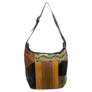 حقيبة هوبو كلوي خليط جلد ثعبان وجلد أفعى وجلد متعددة الألوان
