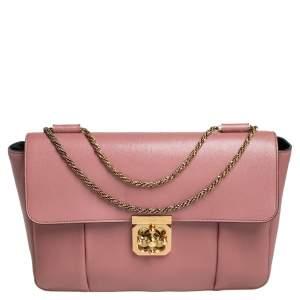 حقيبة كتف كلوي إلسي جلد وردية فاتحة كبيرة