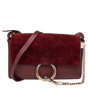 Chloe Burgundy Leather And Suede Small Faye Shoulder Bag
