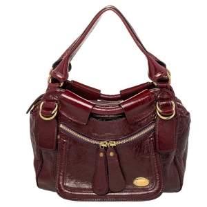Chloe Burgundy Patent Leather Front Pocket Satchel