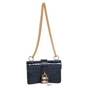 حقيبة كتف كلوي ميني آبي جلد بنقشة التمساح أزرق كحلي