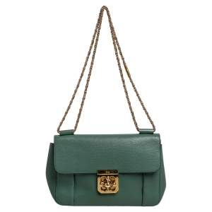 حقيبة كتف كلوي السي جلد أخضر متوسطة