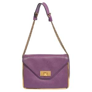 Chloe Purple Leather Sally Medium Shoulder Bag