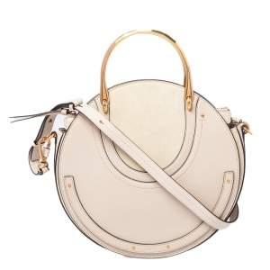 Chloe Beige Leather and Suede Medium Pixie Shoulder Bag