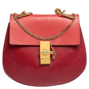 حقيبة كتف كلوي درو متوسطة جلد أحمر ثنائي اللون