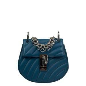 Chloe Blue Quilted Leather Mini Drew Shoulder Bag