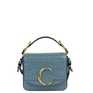 Chloe Blue Croc Embossed Leather C Mini Bag