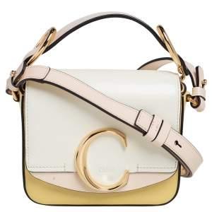 Chloe Multicolor Leather Mini C Double Carry Top Handle Bag